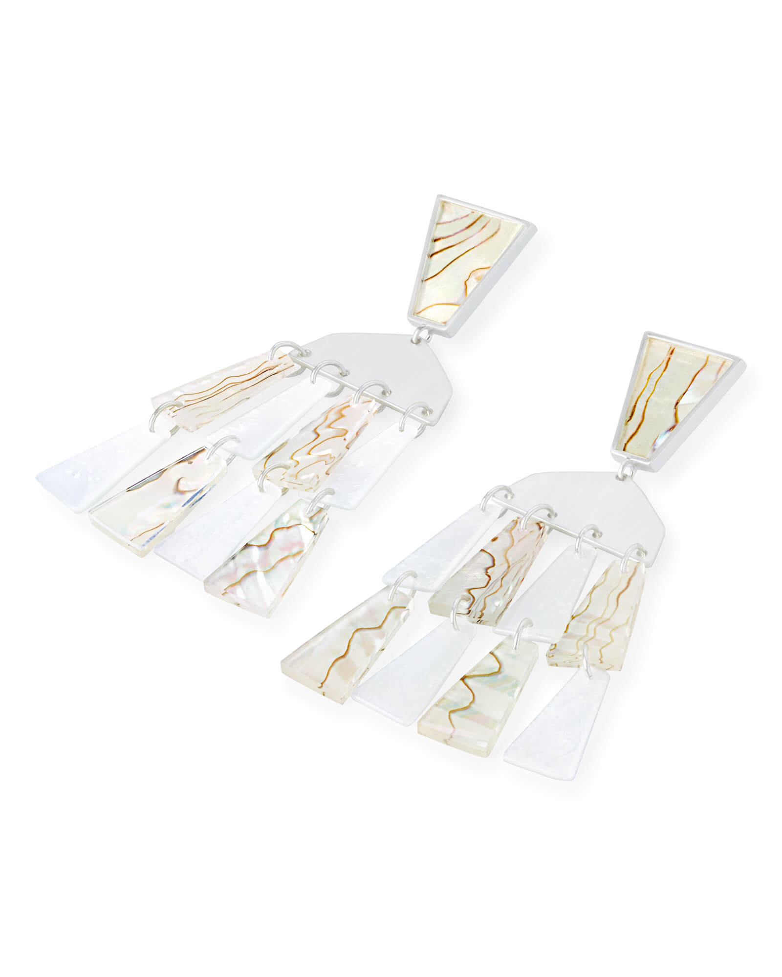 Rechelle Bright Silver Statement Earrings in White Mix