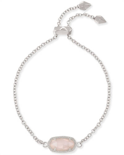Elaina Silver Adjustable Chain Bracelet in Rose Quartz
