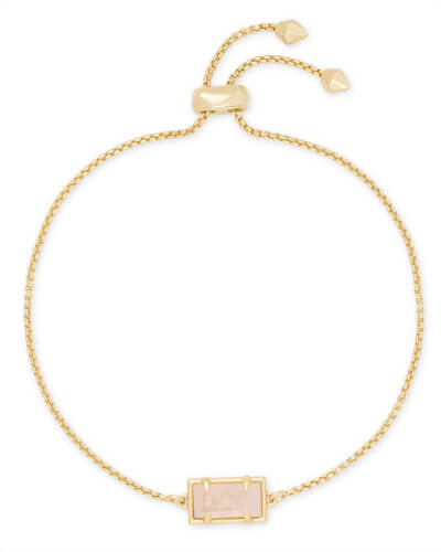 Phillipa Gold Chain Bracelet in Rose Quartz