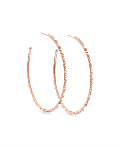 Nia 14k Rose Gold Earrings in White Diamond