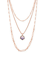Vanessa Rose Gold Multi Strand Necklace in Peach Ombre