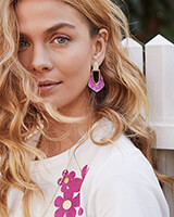Kensley Gold Drop Earrings in Azalea Illusion
