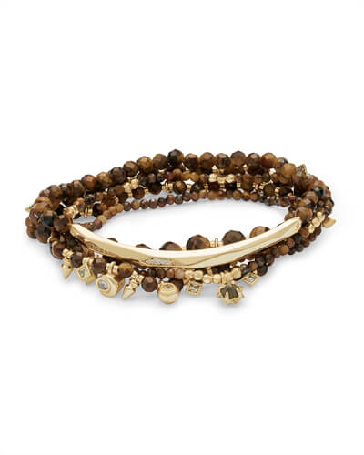 Supak Gold Beaded Bracelet Set in Brown Tigers Eye