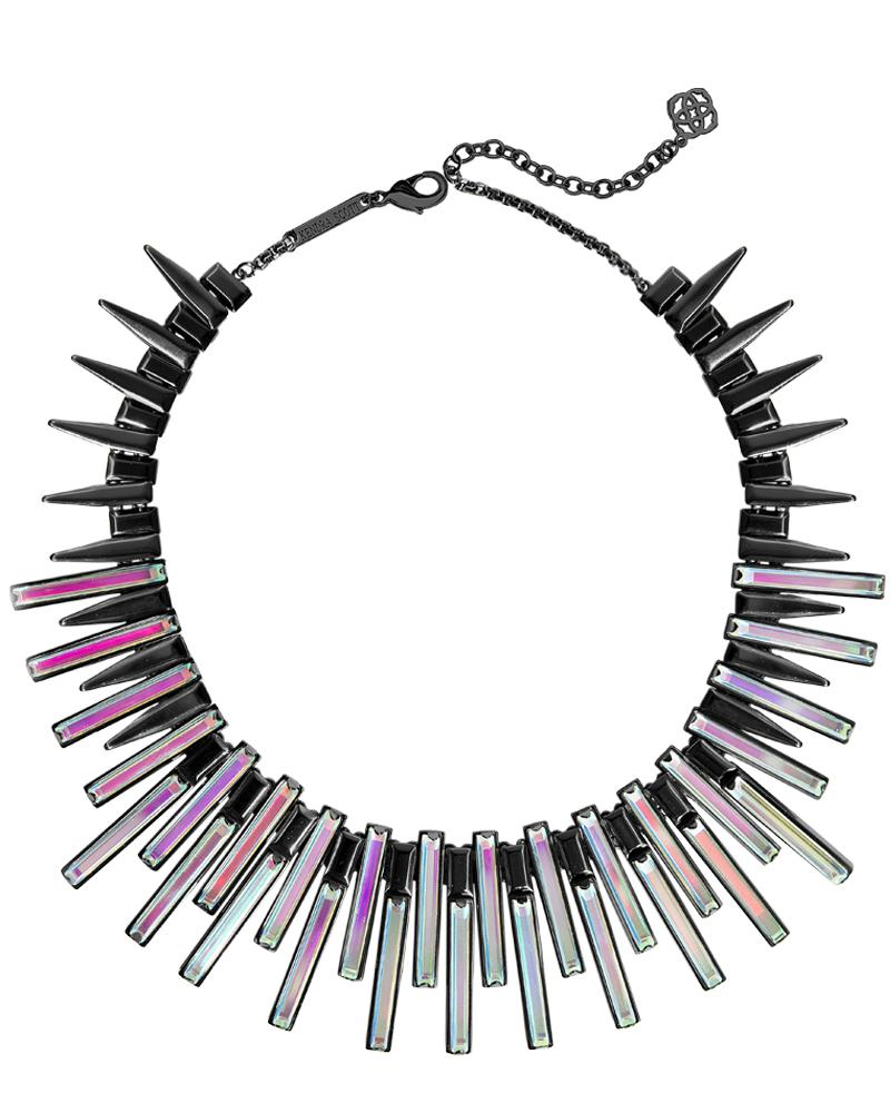 Kaplan Gunmetal Statement Necklace in Dichroic Glass