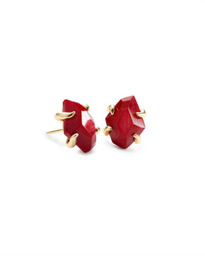 Inaiyah Gold Stud Earrings In Red Mother of Pearl