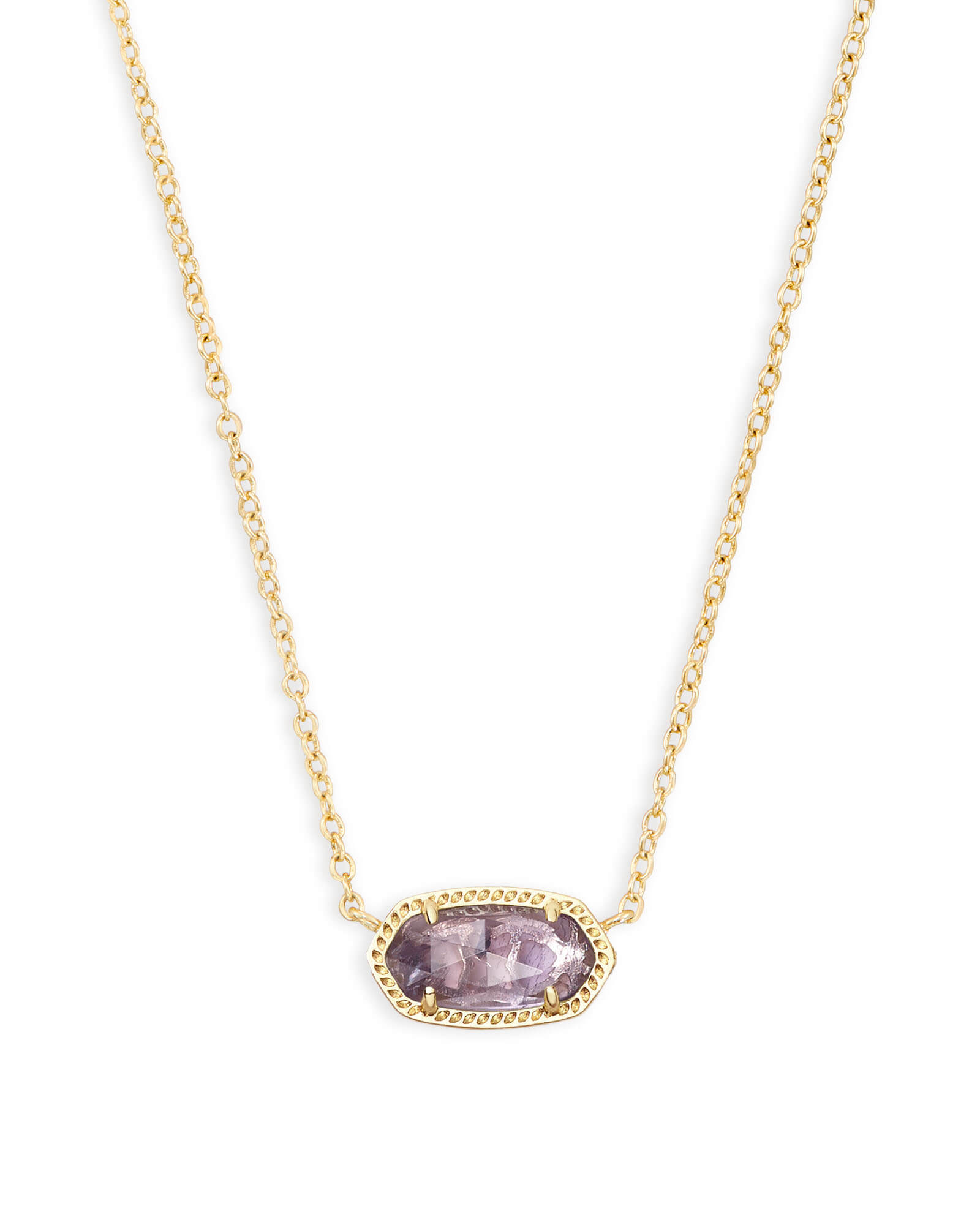 Elisa Gold Short Pendant Necklace In Amethyst