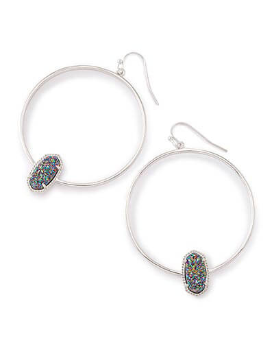 Elora Hoop Earrings in Multi-Color Drusy