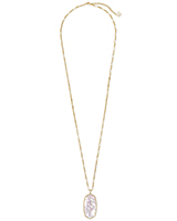 Faceted Reid Gold Long Pendant Necklace in Ivory Mother Of Pearl