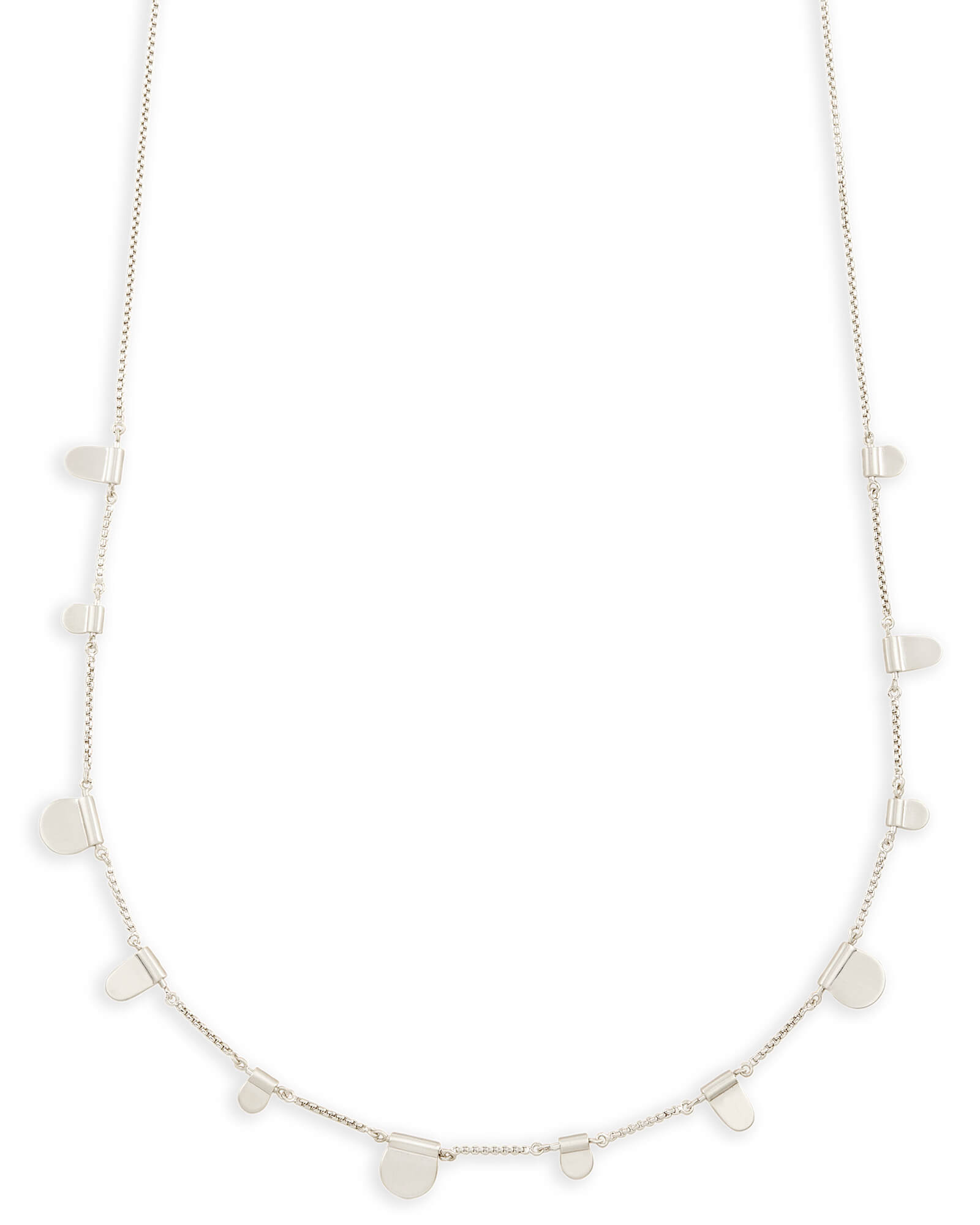 Olive Long Necklace in Bright Silver