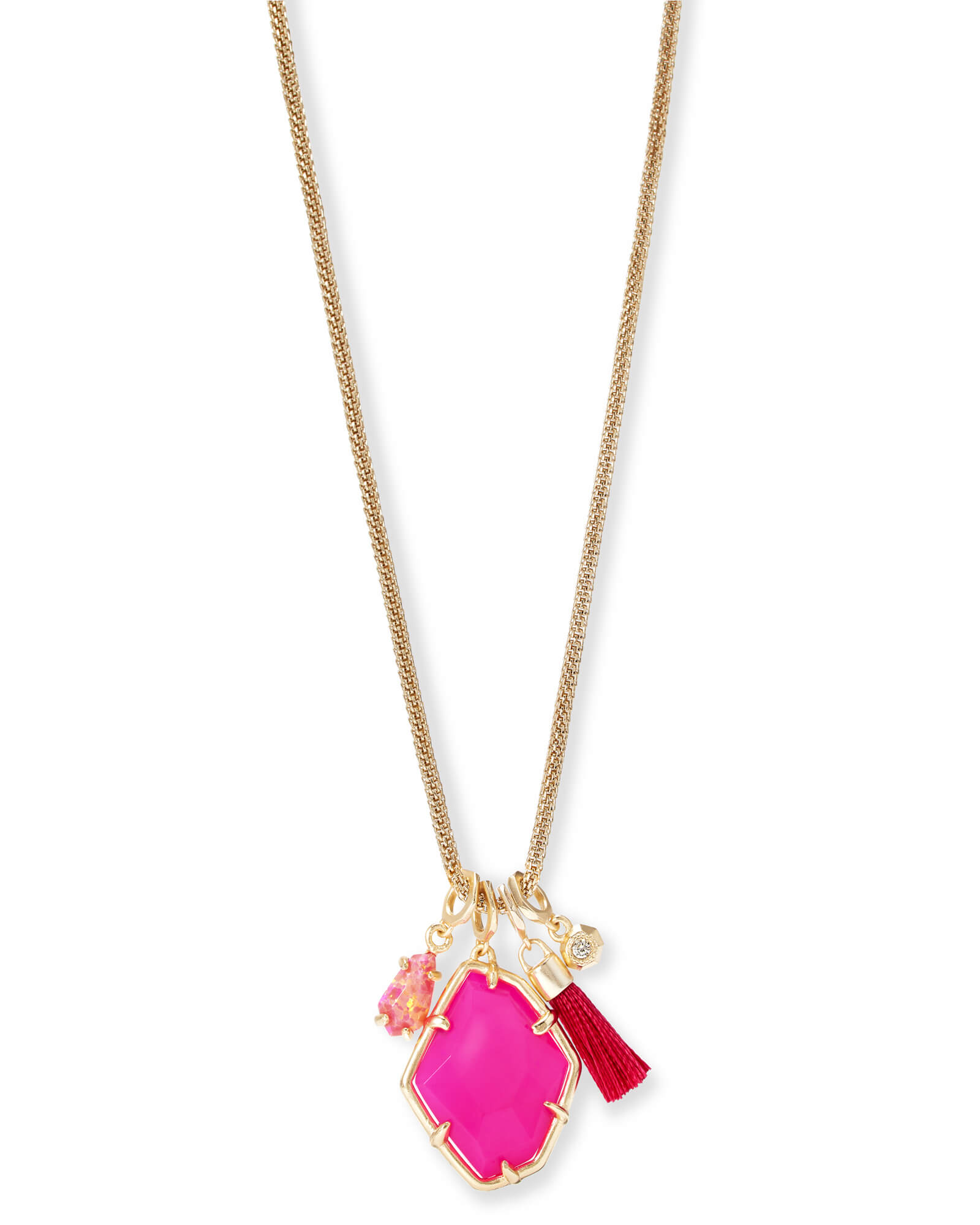 Hailey Gold Long Pendant Necklace In Pink Agate