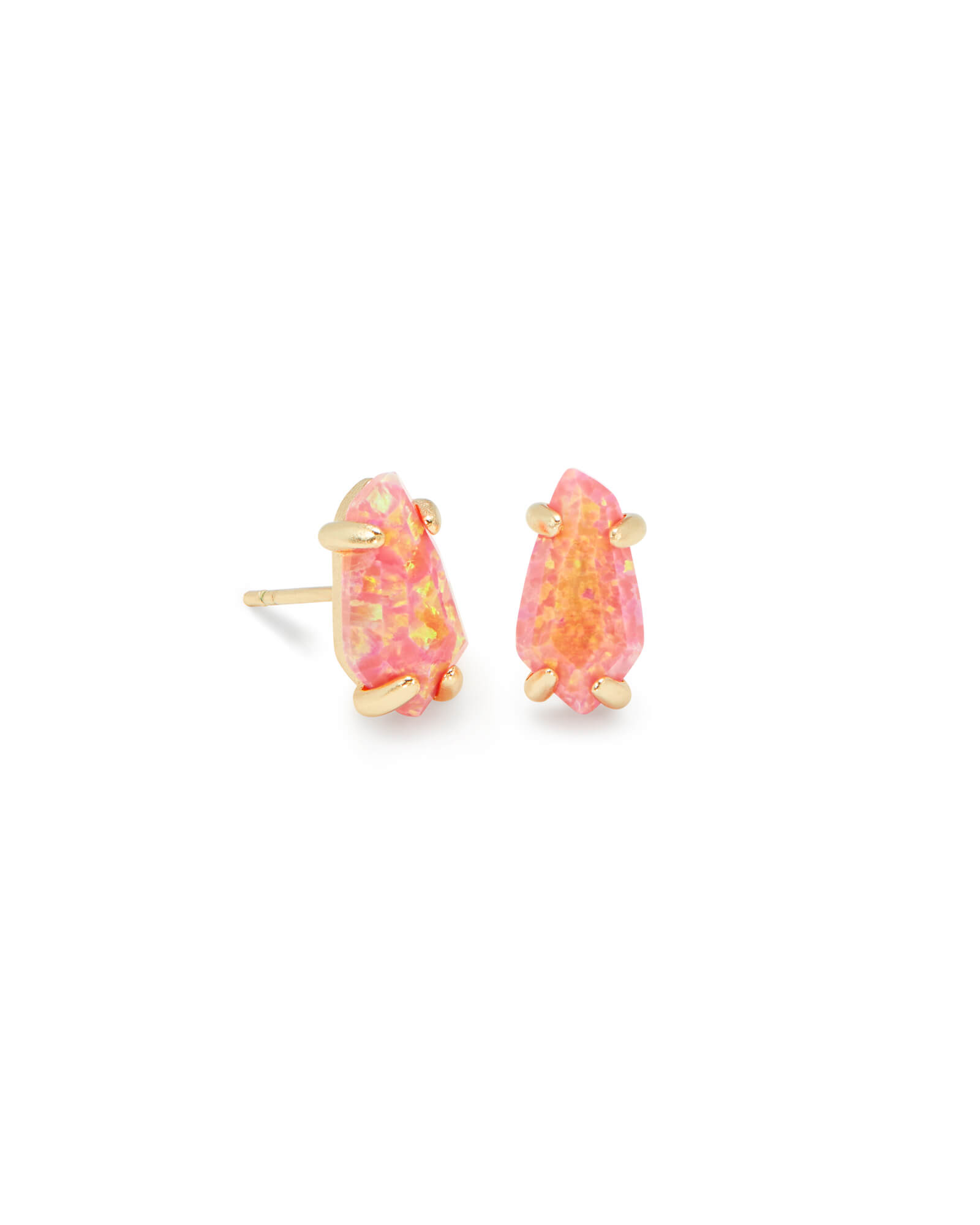 Jillian Gold Stud Earrings in Magenta Kyocera Opal