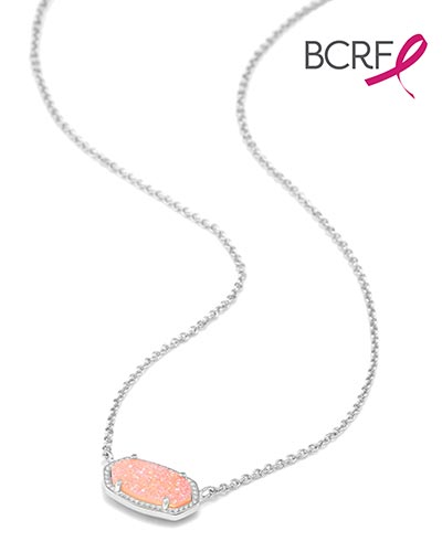 Elisa Silver Pendant Necklace in Light Pink Drusy