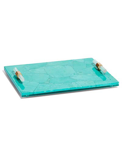 Small Tray in Variegated Teal Magnesite