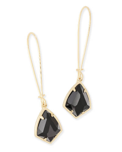 Carinne Gold Drop Earrings in Black