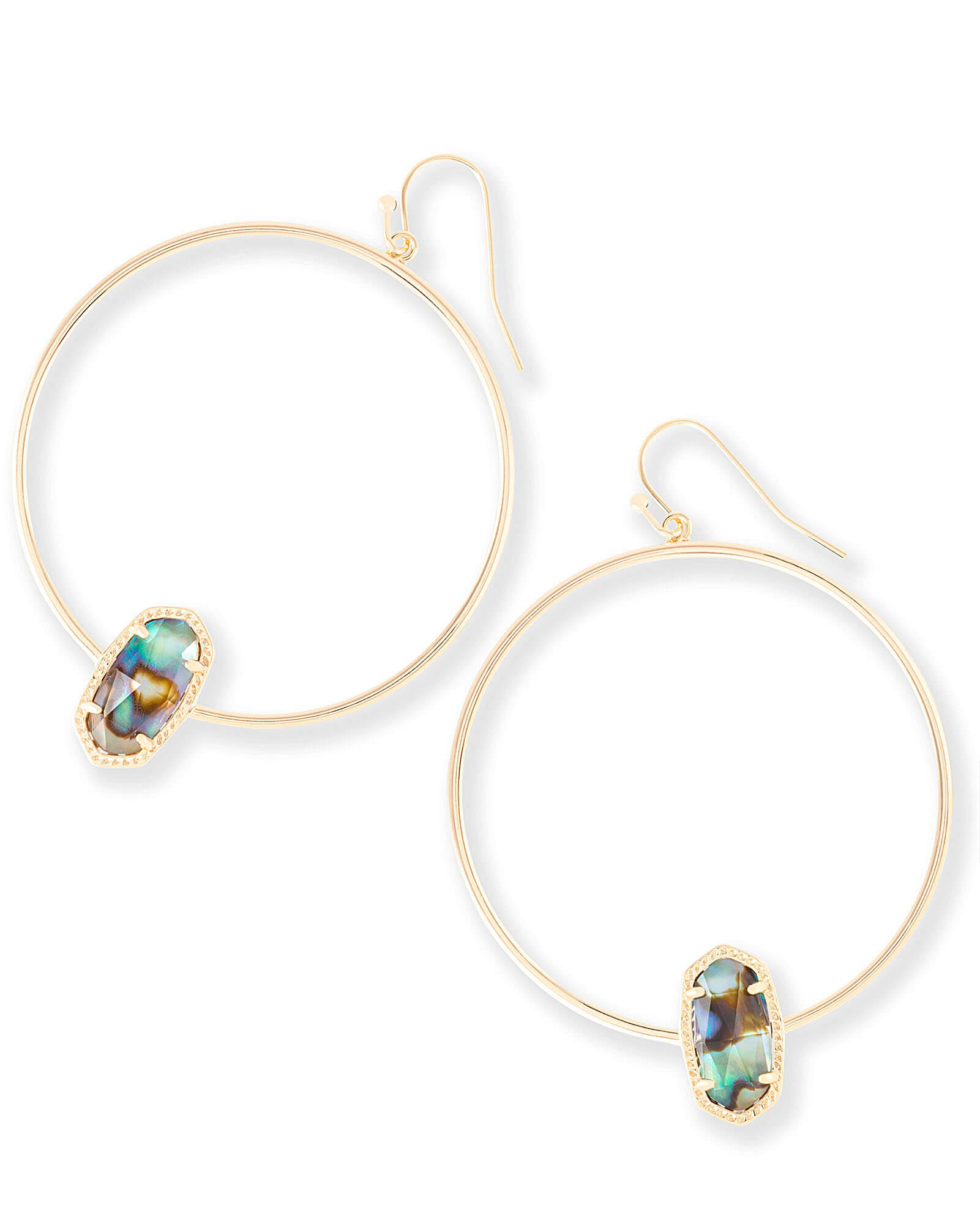 Elora Gold Hoop Earrings in Abalone Shell