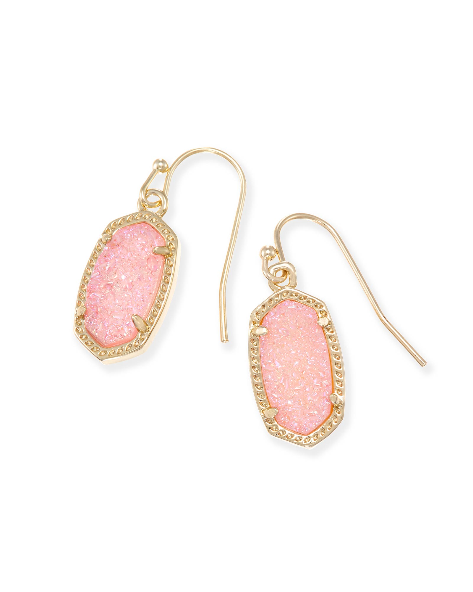 Lee Gold Oval Drop Earrings in Pink Drusy Kendra Scott