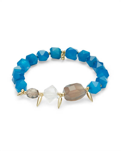 Sadie Gold Stretch Bracelet in Teal Mix