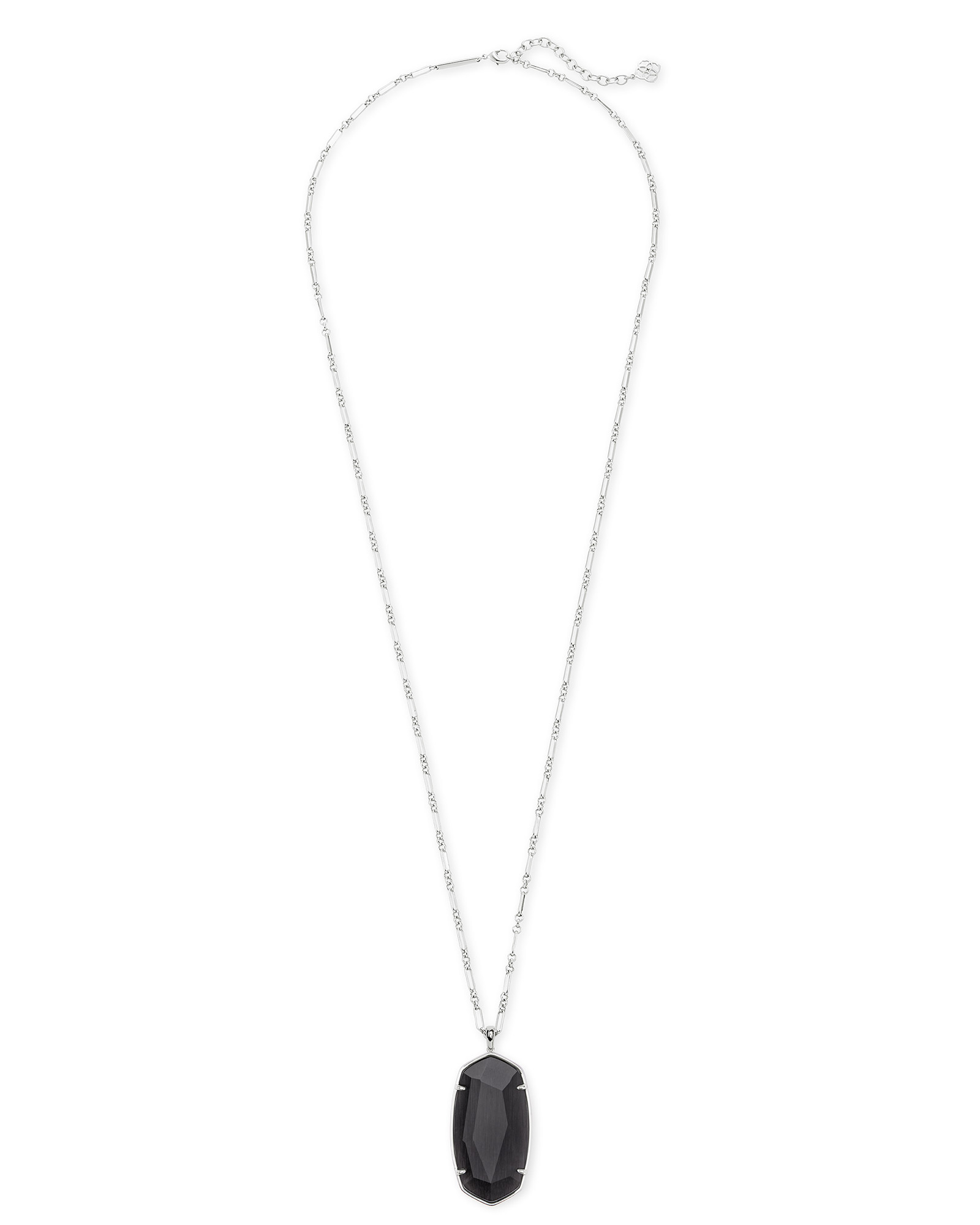 Faceted Reid Silver Long Pendant Necklace in Black Cat's Eye