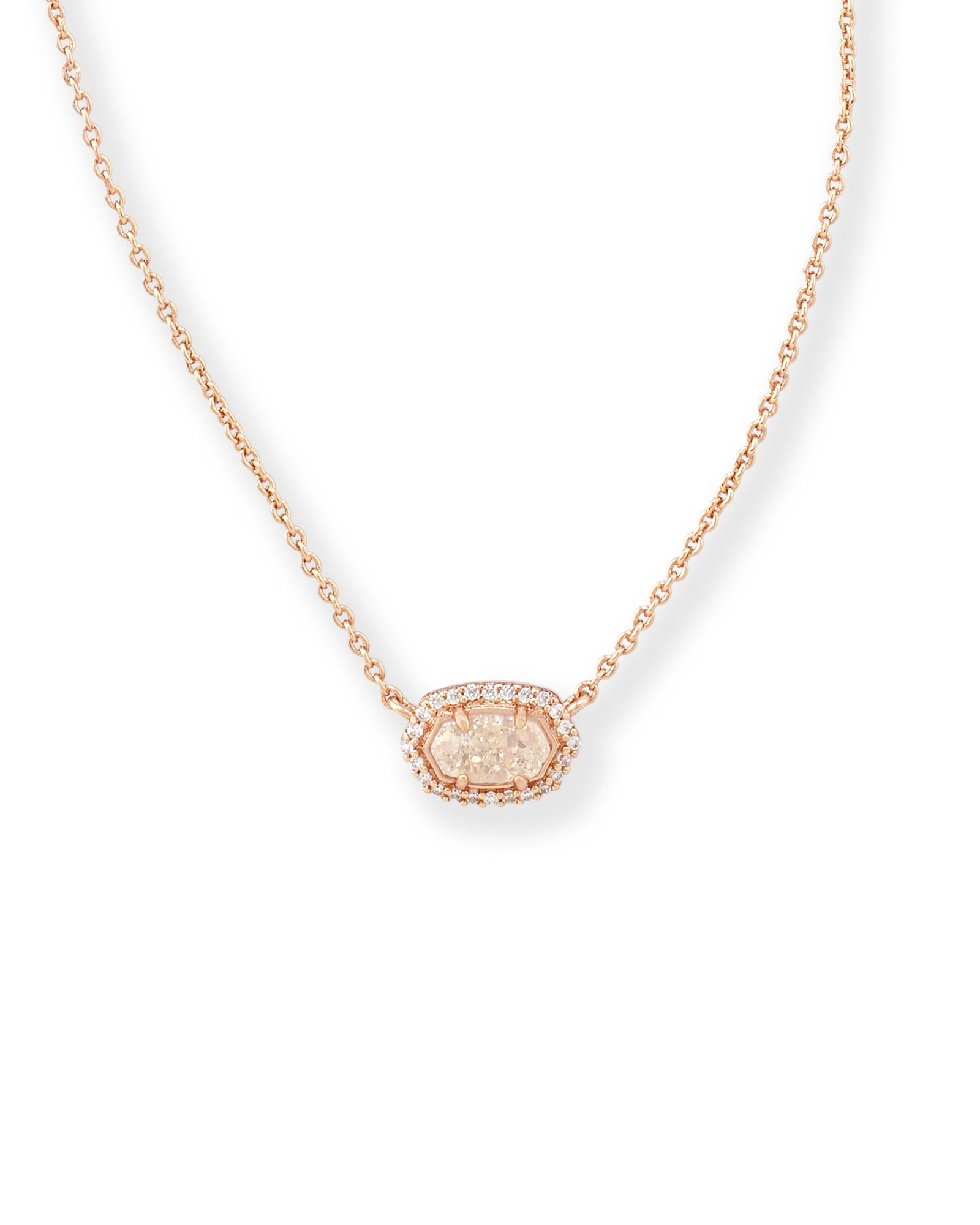 Chelsea Rose Gold Pendant Necklace in Iridescent Drusy Kendra Scott