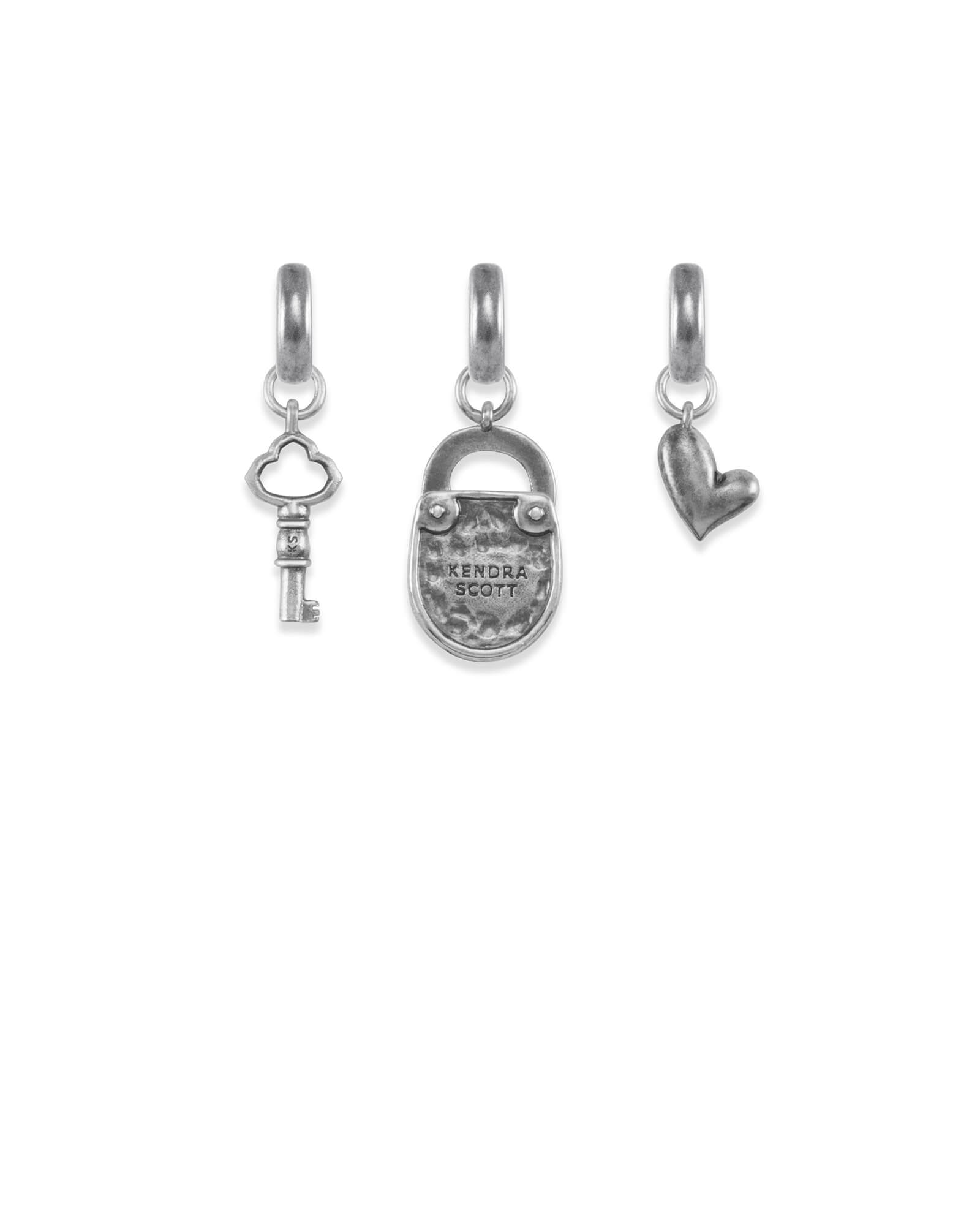 Key to My Heart Charm Set in Vintage Silver