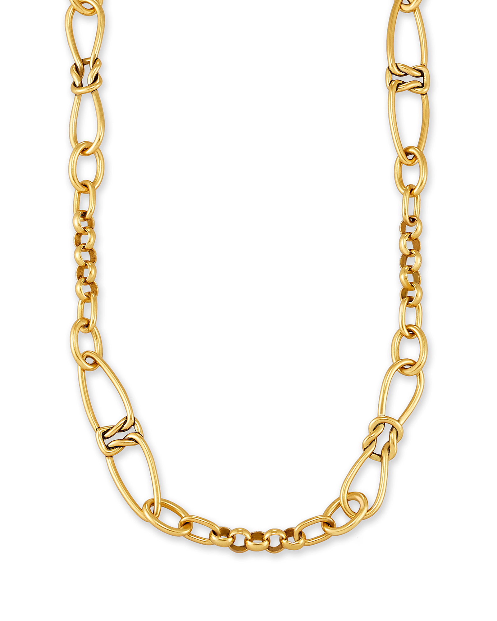 Fallyn Long Strand Necklace In Vintage Gold