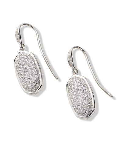 Lee Earrings in Pave Diamond and 14k White Gold