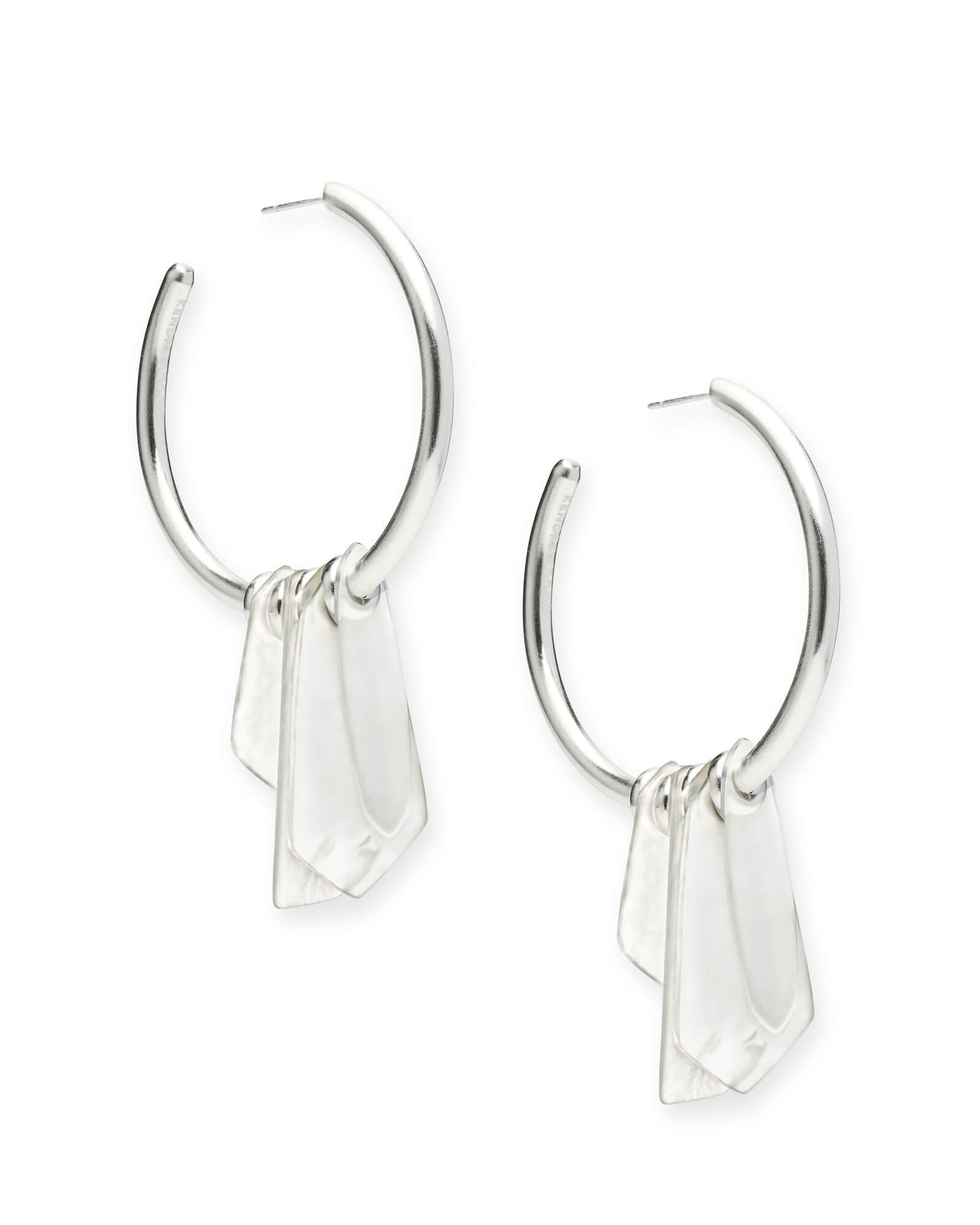 Gaby Bright Silver Statement Earrings in Ivory Mix