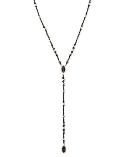 Bethany Gold Y Necklace in Black Glass Mix