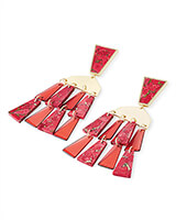 Rechelle Gold Statement Earrings in Red Mix