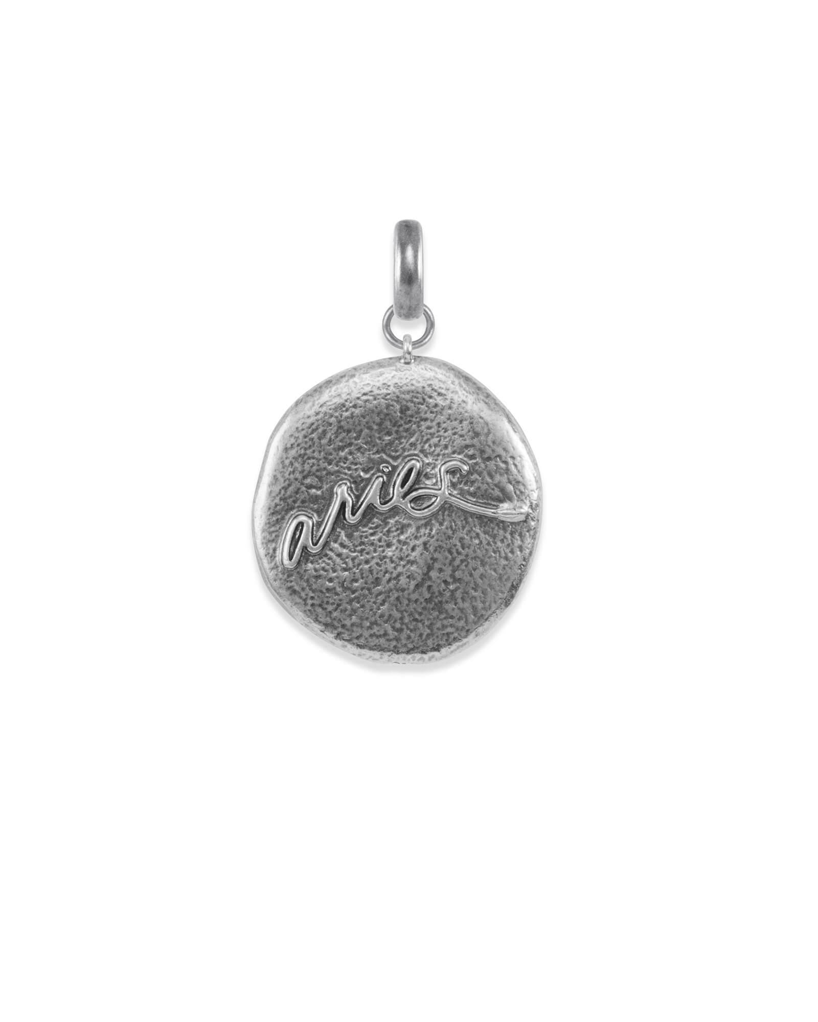 Aries Coin Charm in Vintage Silver