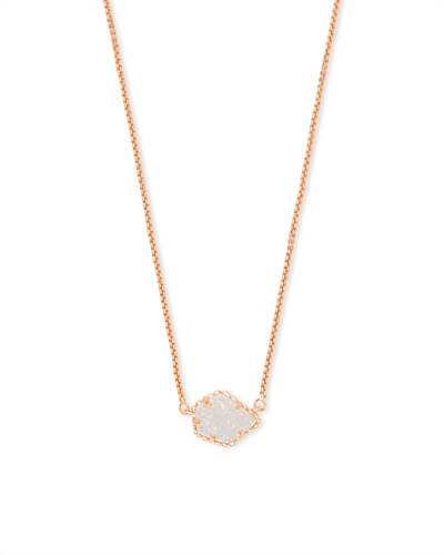Tess Rose Gold Pendant Necklace in Iridescent Drusy