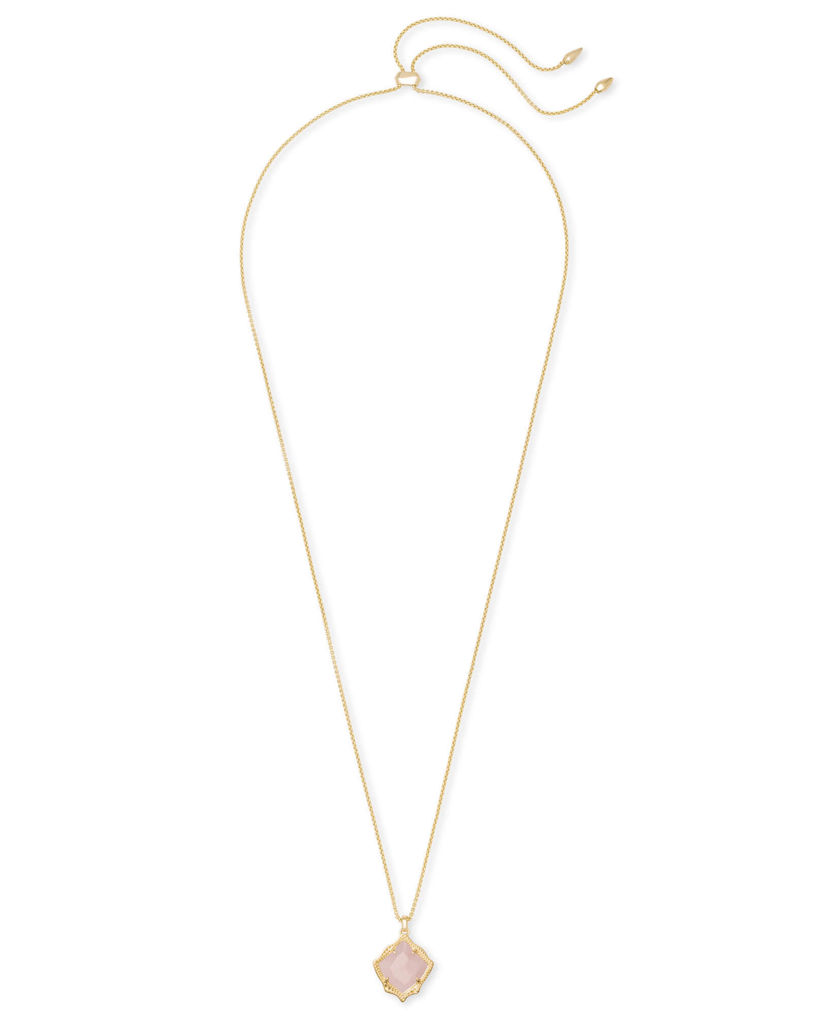 Kacey Gold Long Pendant Necklace in Rose Quartz