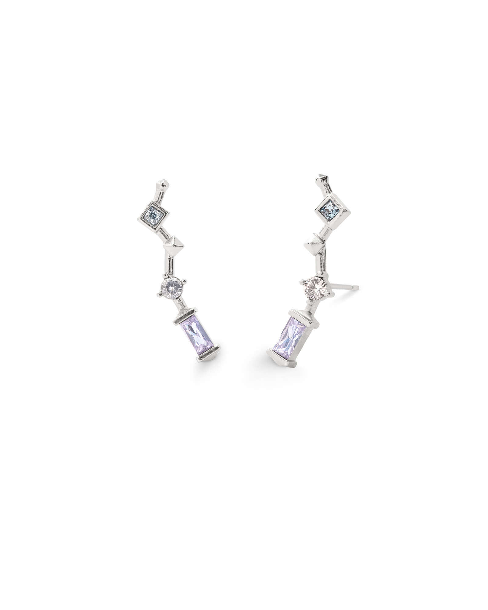 Sutton Silver Ear Climbers in Lilac Mix