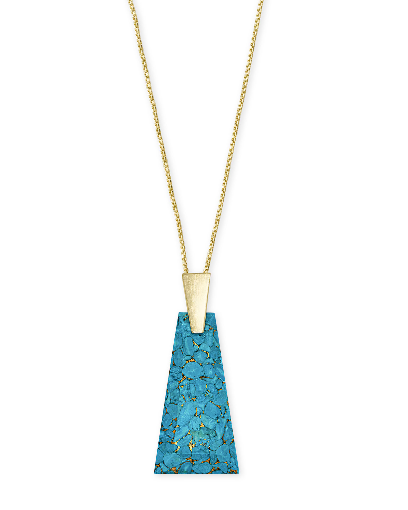 Collins Gold Long Pendant Necklace in Bronze Veined Turquoise Magnesite