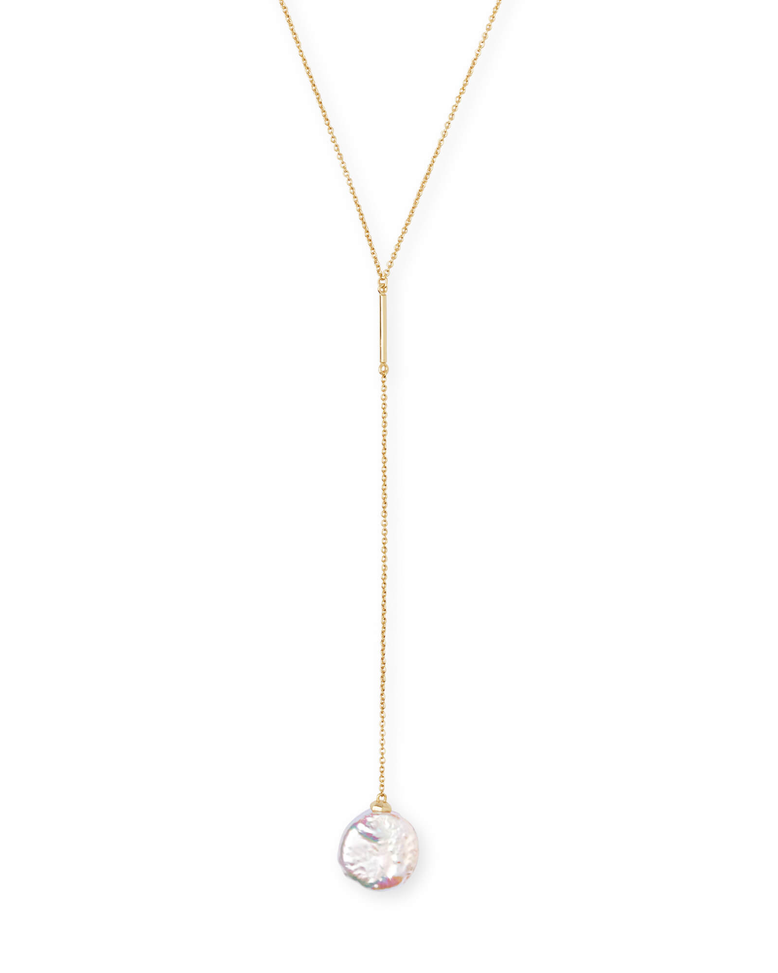 Andi Gold Y Necklace in Pearl