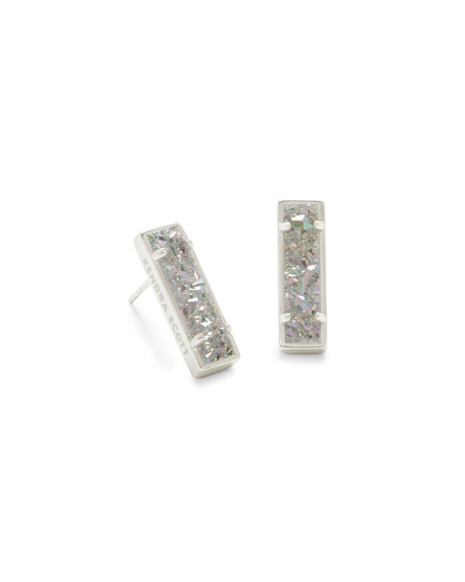 Lady Silver Stud Earrings in Iridescent Drusy