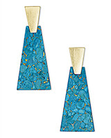 Collins Gold Statement Earrings in Bronze Veined Turquoise Magnesite