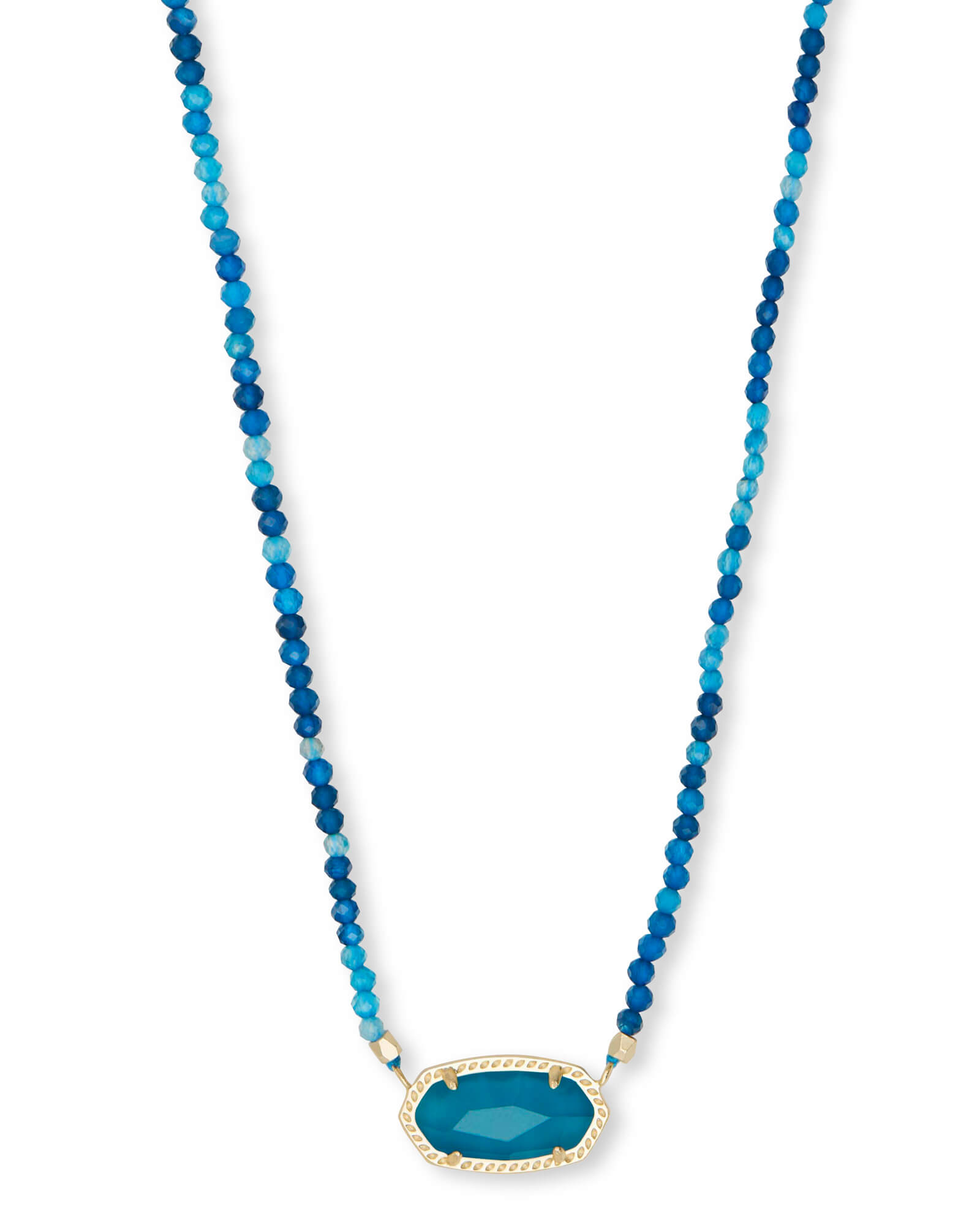 Elisa Gold Beaded Pendant Necklace in Teal Agate