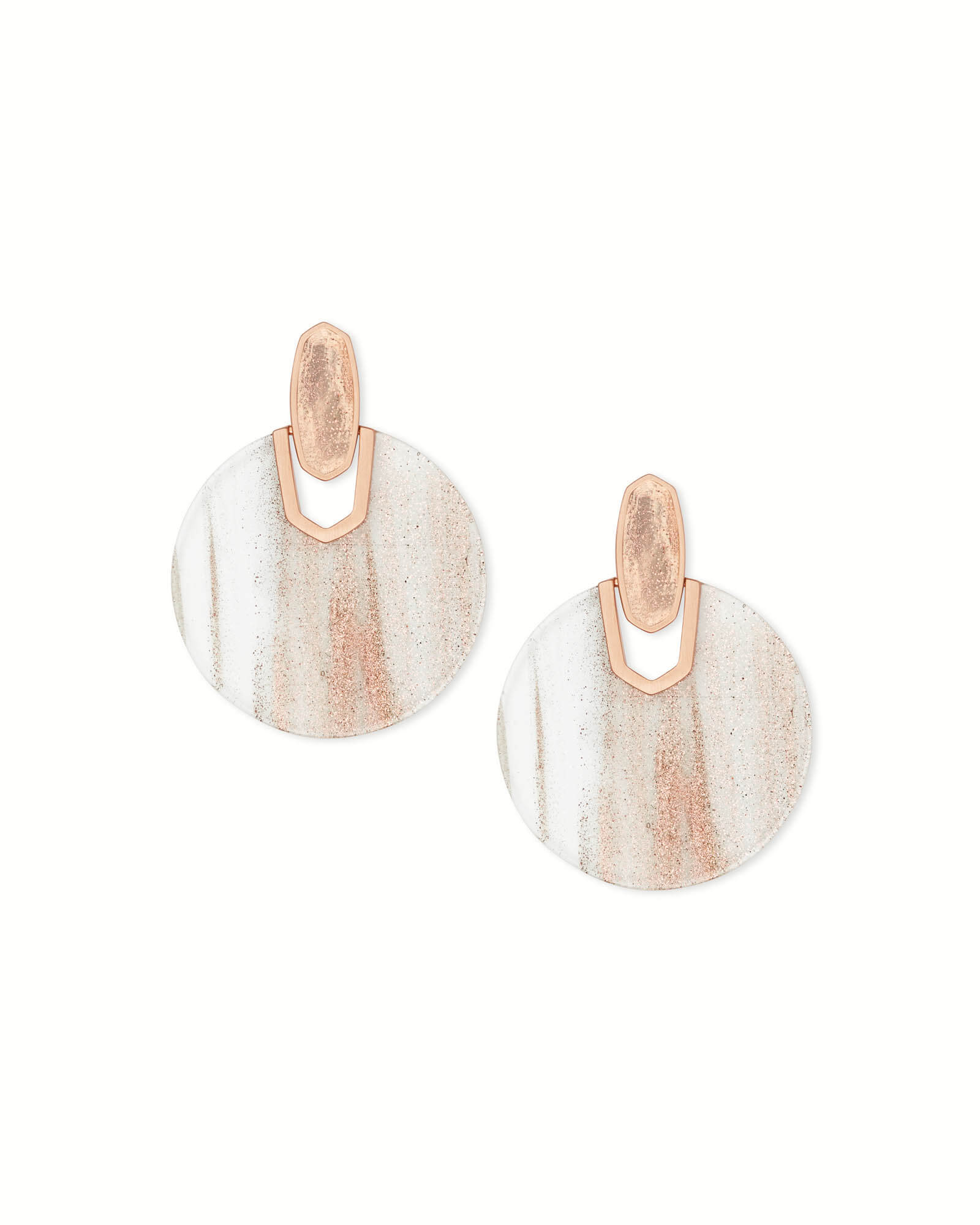 Didi Rose Gold Statement Earrings in Gold Dusted Glass