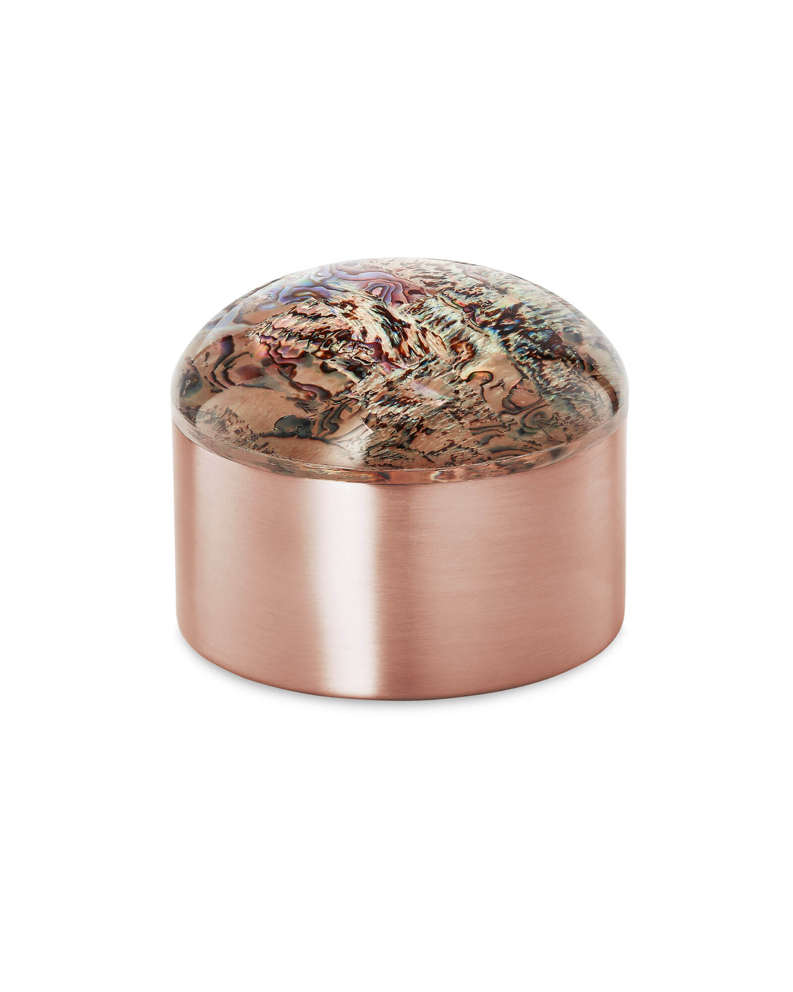 Decorative Rose Gold Dome Box in Abalone Shell