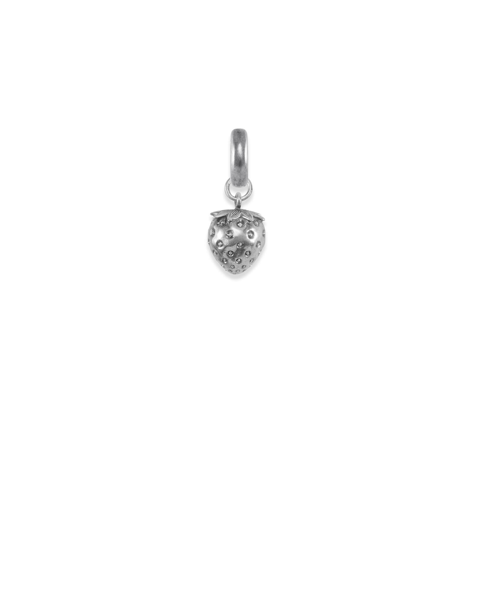 Delaware Strawberry Charm in Vintage Silver