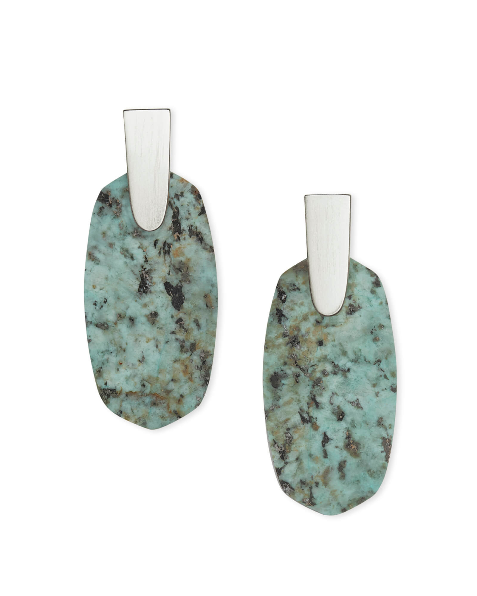 Aragon Silver Drop Earrings in African Turquoise