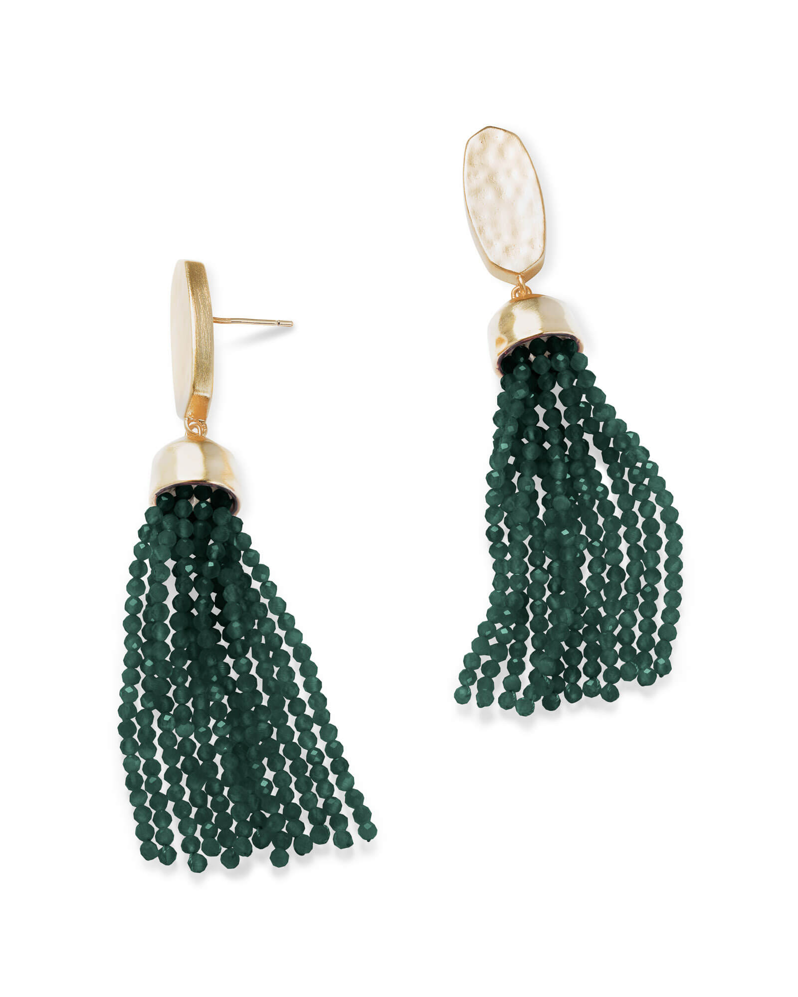 Marin Gold Statement Earrings in Emerald Cats Eye