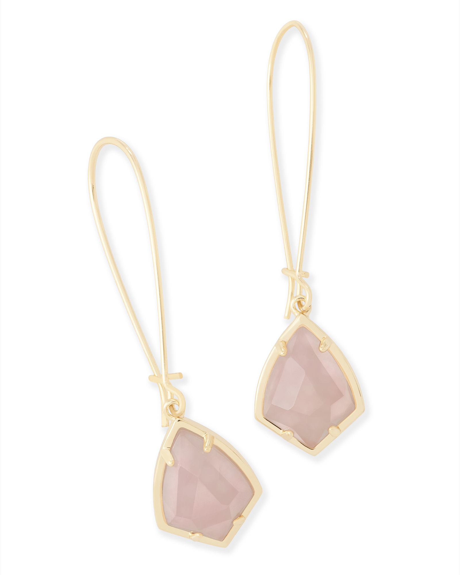 Carinne Drop Earrings in Rose Quartz