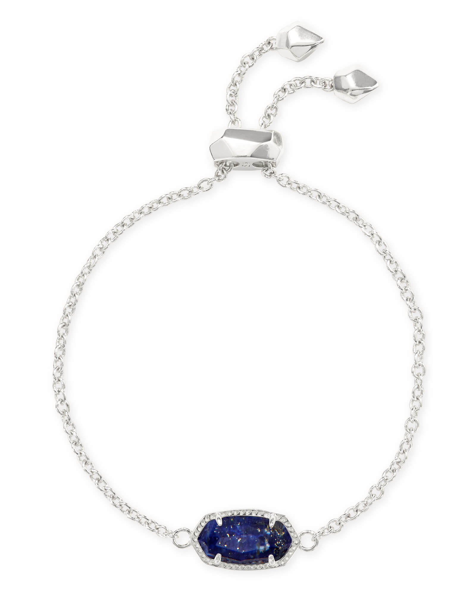 Elaina Bright Silver Adjustable Chain Bracelet in Blue Lapis