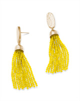 Marin Gold Statement Earrings in Yellow Opaque Glass