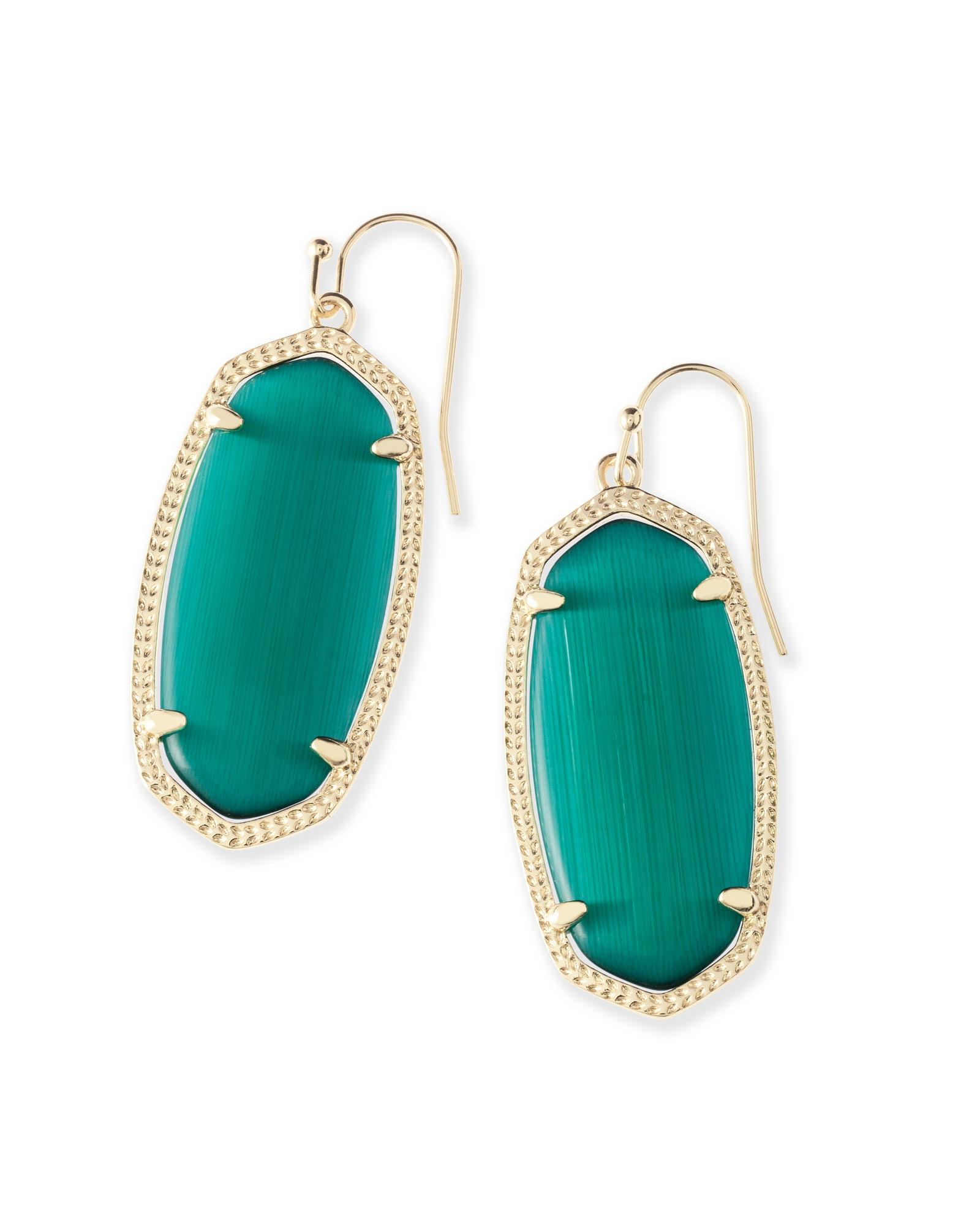 Elle Gold Drop Earrings In Emerald Cats Eye