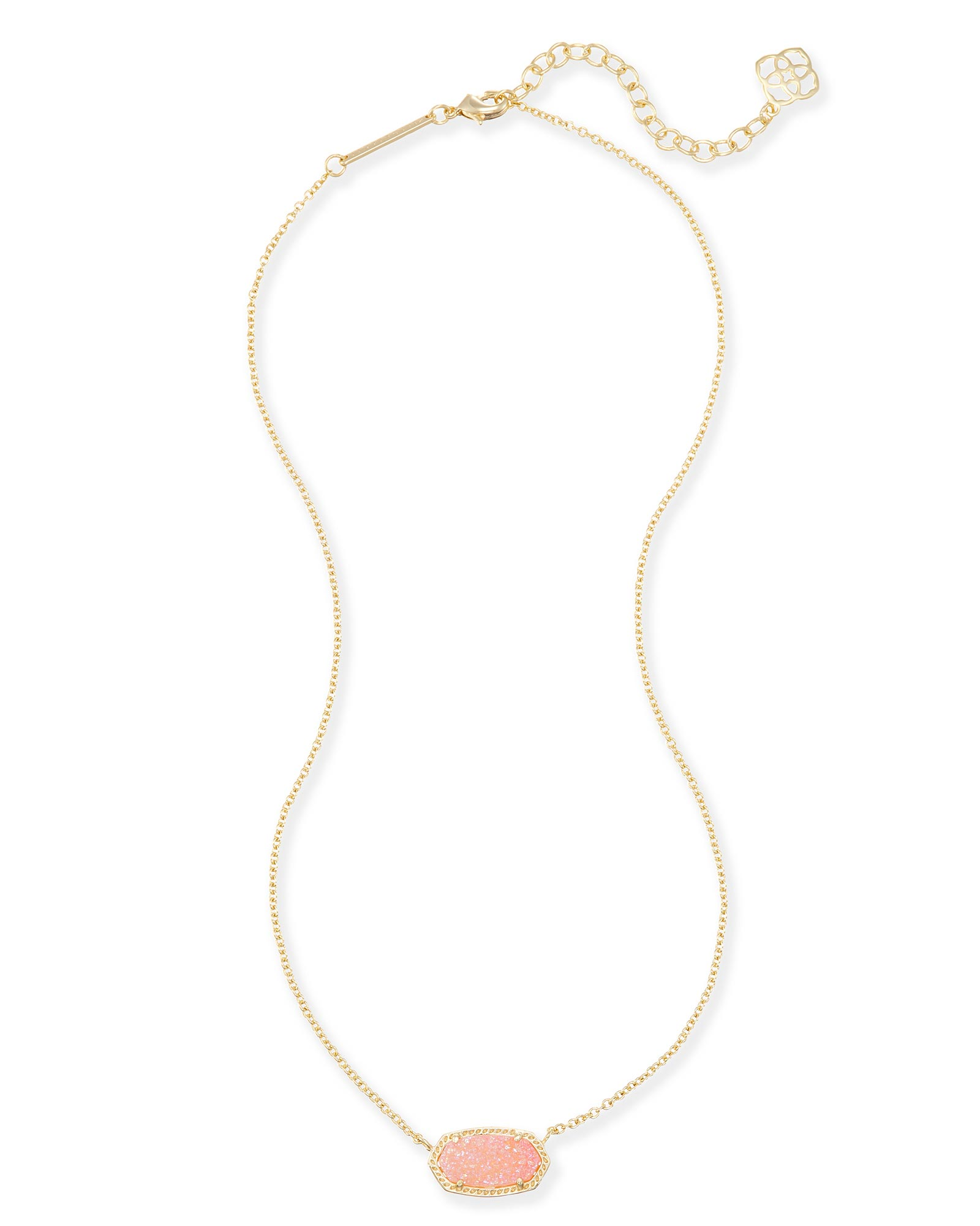 Elisa Gold Pendant Necklace in Pink Drusy Kendra Scott