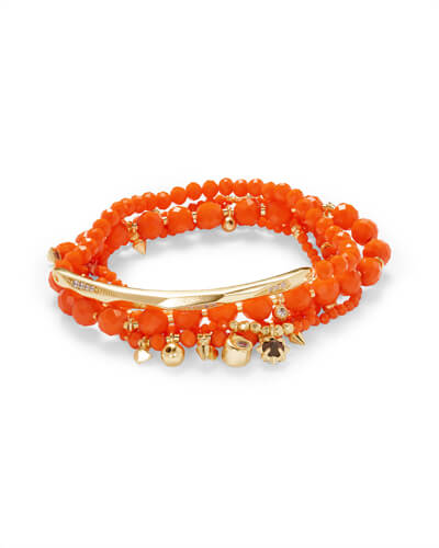 Supak Gold Beaded Bracelet Set in Orange Opaque Glass