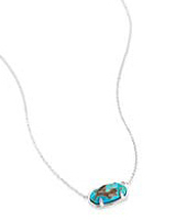 Elisa Sterling Silver Pendant Necklace in Genuine Turquoise